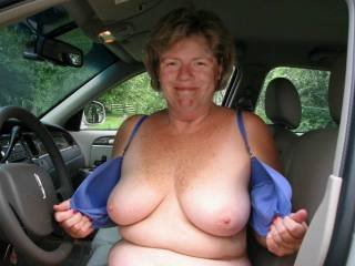 You are really sex out their in your car. Whish I was their to play with those tits