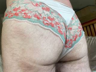 Me playing in my wife's panties to show my gf.