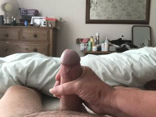 Early Sunday morning handjob from the wife before we start fucking