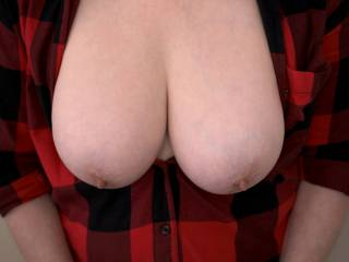 My tits out of the red plaid