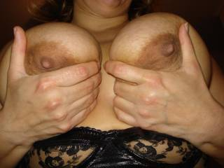 her big boobs and amazing nipples are stunning!! loved to hold them for her! :-)