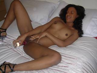 Our friend Kareen masturbating with our glass dildo