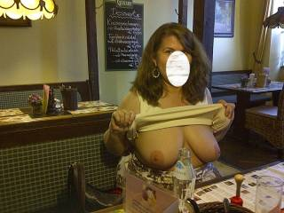 Flashing me at a restaurant in Vienna. The meal wasn\'t that great, but the view was spectacular