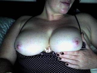 I love it! Polka dots and pink nipples very hot. I would love to shoot hot cum all over your chest.