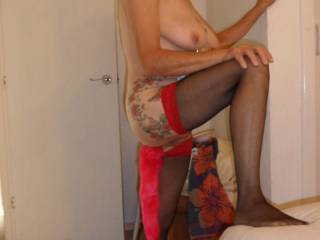 trying out my little tail what do you think? dirty comments welcome mature couple