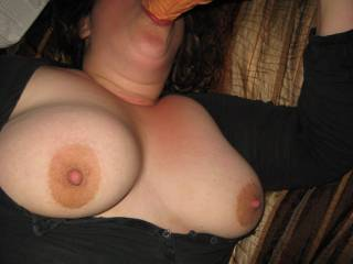 My hot wife sucking a dildo while I play with her tits. I was wishing it was a Zoig friend's cock the whole time.