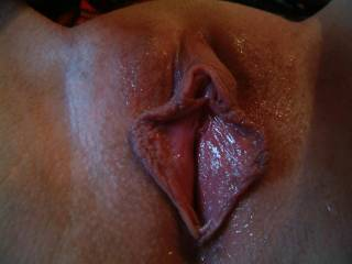 Those are some lovely big puffy lips, may I tug and suck on them before I slide my old cock in there?