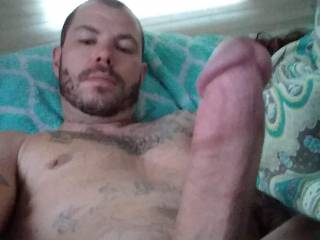 All I need is a wet pussy to slide down on this swollen cock