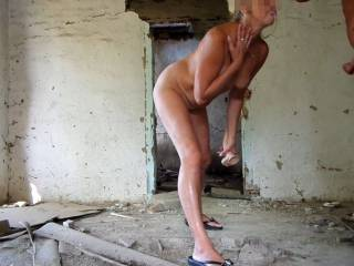 an abandoned house -My husband\'s cum dripping from my mouth. Hmmm very yummy. Would you like to be here? :)