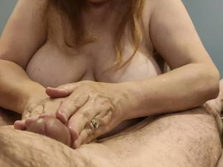 She took out my meaty cock. The missus stroked and twisted it. She knows it\'s full of cum and that is what she wants. This talented woman knows her man will explode for her over and over as the cum lover wants the sticky love juice to cover her hands.