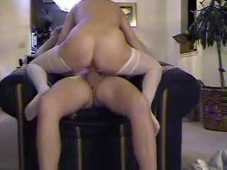 K sliding her wet pussy onto J\'s cock while he sits and enjoys!