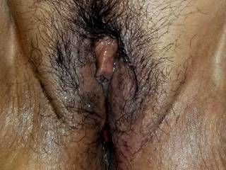 My pussy after her fucked me so good while hubby watched. He filled my pussy with his cum.