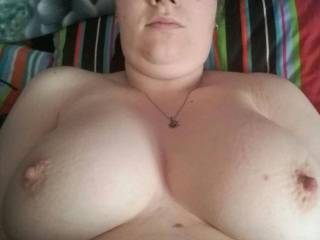 My big tit friend Lou getting her tits out wanting me to cum over her