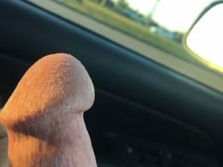 Enjoying a stroke in my truck