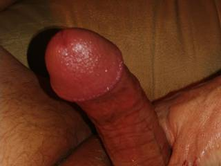 My hard cock after a little stroking. It feels so good. How would you make me cum?