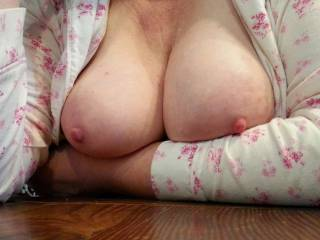 Big milk filled tits out at the breakfast table... anyone want milk with their cereal?