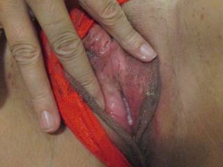 giving hubby a look inside my pussy.