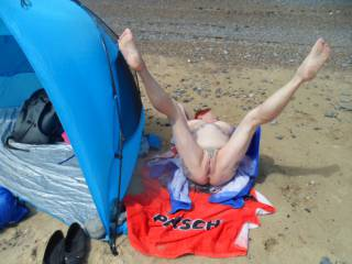 Hi all having another go at the competition, hubby again dared me to lay on the sand with my bikini off, so here you go. hope you like the view dirty comments welcome mature couple