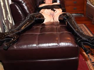 """Shiny black """"FUCK ME"""" boots and a wet pink pussy!"""