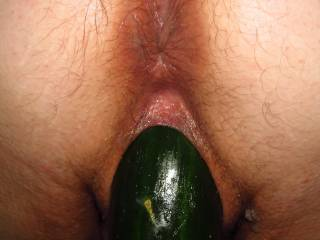 This is so far the fattest cucumber I\'ve had in my pussy. I\'m LOVING it! We\'re looking for even bigger next time.