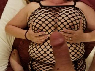 I love when me husband stands above me with his hard cock. Makes my pussy wet when he teases me.