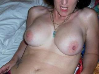 Mmm...would love to shoot my load all over your tits...very hot!