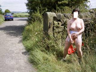 very exciting stripping and wanking outdoors near a road
