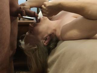 Mrs. Shutterbug58 is about to have a good face fuck. She just cannot get enough cock! Watch her video as she engulfs that cock.