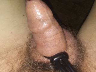 Edging with cock ring plus balls ring. About ready to cum.