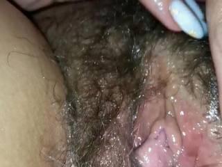 Beautiful lips, clitoris and hair.