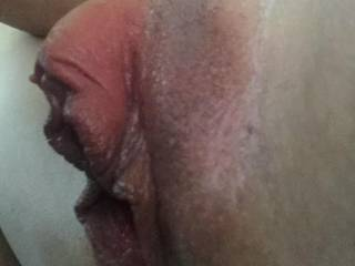 profile view of my edged-to-the-max, rock-hard clit....ready to explode!!!