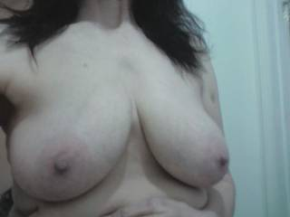Amazing!  I'd love to kiss, suck and nibble on those nipples until they're long and hard.....then I'd tug on them with my teeth while squeezing your tits....