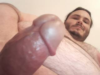 The view when I\'m about to cum on your face and tits.