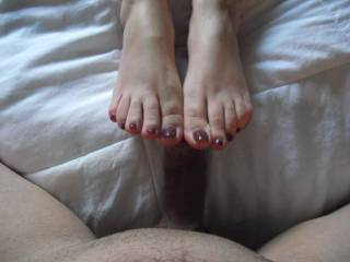 He's not the only one...very jealous he gets to touch and play with those beauties though! Would love to sniff lick kiss suck and worship those sexy toes n soles before rubbing my hot wet sweetly dripping cock all over them....