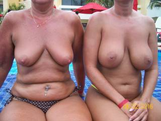 OMG!!!  What gorgeously sexy breasts!!!  I'd love to cup both of their tits in my hands and bounce them and feel their sexiness then suck on all four of them and nibble those ripe nipples and so much more!!