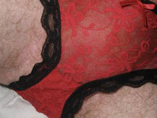 Sexy red and black lace panties