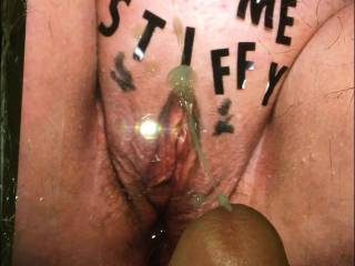 Stiffy shot a huge load of milk all over juicy\'s pussy after she dressed it up for him....Great job my friend