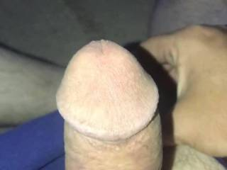 Twitching a chubbed up not full erect cock shot