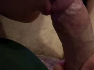 Gf sucks off slowly and gets a load in her mouth