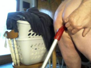 fucking the vacuum cleaner handle after having it suck my cock