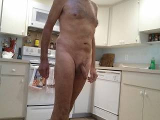 Love being naked around the house. In the kitchen,  looking for something to eat. What would you eat?