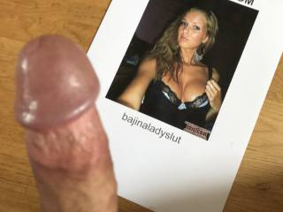 Cocktribute for bajinaladyslut. Right before cumming over her... That was fun, she\'s hot!