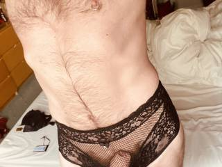 My gorgeous girlfriend bought me these gorgeous panties for my birthday.  So sexy, sheer and be-ribboned x