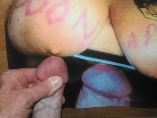 Stroking my cock to get it nice and hard to ownedand juicy\'s tasty big tits reverse tribute she sent me to cum on! Rubbing my cockhead on her nipple! Cumshot ready to go!