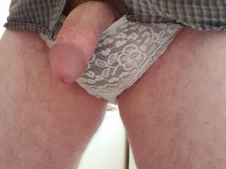 Pleas pull my lacy panties down and suck my knob