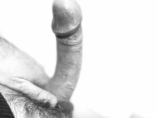 Black and white uncut cock for the eyes