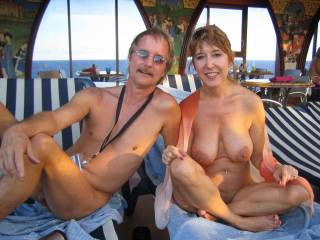 nude cruising in the Caribbean. Do you like my wife\'s smile and tits?