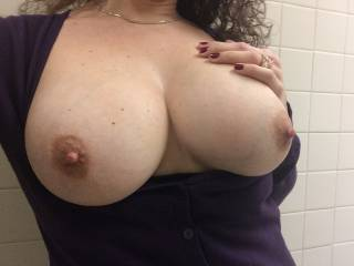 Absolutely beautiful!!  If I worked with you we'd have have to take our break so I could kiss, suck and nibble on them.....I'd like to get those nipples long and hard then tug on them with my teeth...