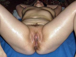 Mmm, I can envisage so many things that would fit in perfectly inside that magnificent pussy. Perfectly, and at the same time. You'd like that, wouldn't you? Naughty lady. ;)