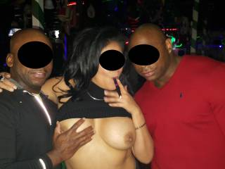 In a Vegas club with 2 bulls, about an hour after this picture, she had their cum all over her face and tits, and that was just round 1... 